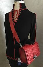 Stunner!***Rebecca Minkoff LA Love Quilted Affair Crossbody Crimson Red Limited