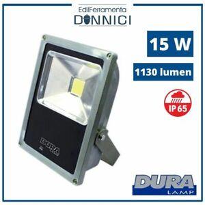 Faro LED faretto slim 15W per interno da esterno IP65 con staffa orientabile
