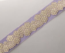 Lavender Jacquard Organza Ribbon Trim Metallic Gold Flowers Sewing Craft DIY