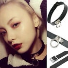 Classic black Gothic Punk Choker Collar Leather Neck Ring pendant chain necklace