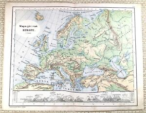 1879 Antique POLISH Map of Europe Old European Physical Empire Old 19th Century