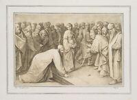 F. PILOTY (1828), nach Pieter BREUGHEL, Christus und die Ehebrecherin, Litho.