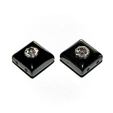 MAGNETIC HEMATITE SQUARE BEAD 2 HOLE 10MM SPACER RHINESTONE CENTER 12 BEADS MS23