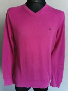 Tommy Hilfiger mens jumper cotton long sleeve v-neck light purple  size M