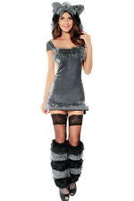 Raccoon Sexy Furry Grey Velvet Halloween Costume Dark Gray Velvet Dress 8676
