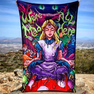 Alice In Wonderland Halloween Trippy Wall Art Psychedelic Home Decor Tapestry