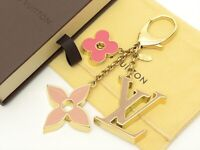 Louis Vuitton Authentic Metal FLEUR DE MONOGRAM Bag Charm Key Chain Auth LV