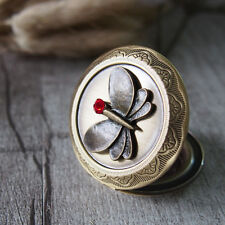 Cameo Ruby Crystal Butterfly Brass Round Picture Locket Pendant Necklace