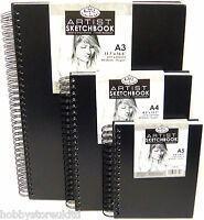 Black Spiral Sketch Pad Sketching Book Cartridge Paper Pad Drawing Pad Hardback