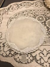 """New listing Vintage 4 Madeira 6"""" round organdy doily Cup coaster White Light Blue"""