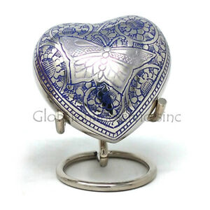 Portland Purple Small Heart Keepsake Memorial Urns with Stand & Velvet Box