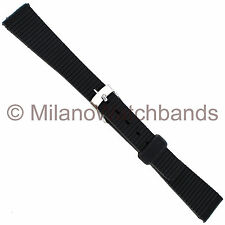 14mm T&C Black Rubber Square Tip Line Design Ladies Watch Band 521328
