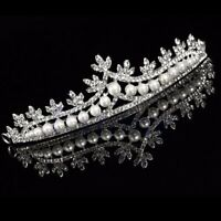 Bride Tiara Crown Bridal Rhinestone Pearl Crystal Hair Wedding Veil Headband