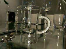 New in Gift Box Glass Coffee Mug with Swarovski Filled Handle