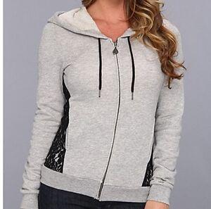 $59 Volcom Logo Hoodie Sweatshirt Black Lace Trim NWT L