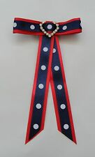 Junior Rider Equestrian Hair Ribbon Bow - Navy & Red Satin *New*