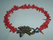 VINTAGE RED CORAL NUGGET BEAD BRACELET IN GIFT BOX