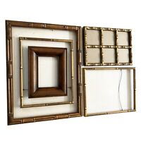 """Wood Picture Frame Set 5 Faux Bamboo Tiki Gold 8""""-18"""" Vtg Mid Century Lot"""