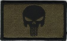 Green Black Punisher Skull Morale Patch VELCRO® BRAND Hook Fastener Compatible