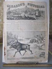 Vintage Print,MOOSE HUNTING,Gleasons,1854