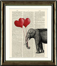 Antique Book page Art Print - Elephant holding Balloons Dictionary Page Wall Art
