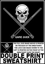 SKULL ANGRY POOL BALL CUE PLAYER GAME OVER SWEATSHIRT