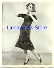 Vintage Fashion Model Wearing Pleated Dress & Long White Gloves  1950s B&W 8x10