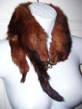 Rare Vintage Real Reddish Fox Fur Choker Collar Neck Wrap Heads Tails Feet