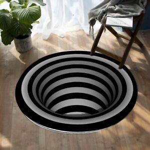 3D Swirl Circle Optical Illusion Black Round Rug Carpet Mat Living Room Bedroom