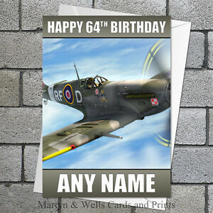 Spitfire birthday card. 5x7 inches. Personalised, plus envelope. WWII Airplane.