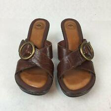 Nurture Myla Womens 1365 Brown Leather Open Toe Slip On Sandals Heel Sz 7.5M