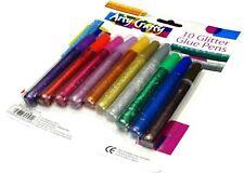 10 X Glitter Glue Gel Pens Art Craft Sparkly Coloured Markers