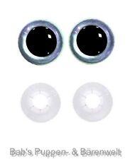 1 Paar Sicherheitsaugen blue pearl dunkel 15 mm m. Kunststoff-Sicherheitsscheibe