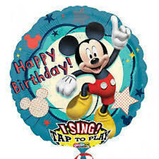 "Party Decoration 28"" Mickey Mouse Singing Foil Balloon Happy Birthday"