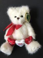 Bearington Bear Plush Stuffed Teddy Hugs & Kisses 1919 Hearts White Jointed New