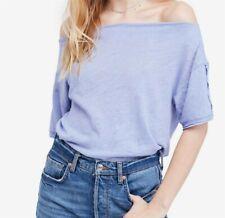 Free People NEW Blue Women's Size Medium M Off Shoulder Knit Blouse $58