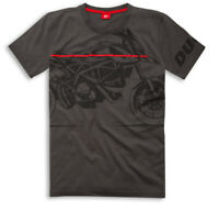DUCATI Graphic REDLINE Hypermotard kurzarm T-Shirt grau NEU