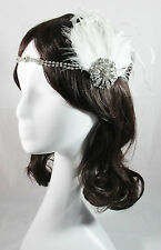 IVORY GATSBY VINTAGE 1920S COSTUME FLAPPER FEATHER FASCINATOR HEADPIECE PRUDENCE