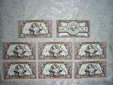 FRANKLIN MINT Collector's Monopoly 1991 Type 2 Replacement MONEY (8) $5.00 Bill