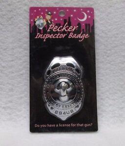 Official Pecker Inspector Badge Novelty Hens Gag Gift Bachelorette Party Favor