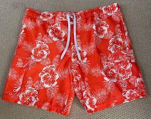 OCEAN PACIFIC >NEW< Men's Hibiscus Tugger Swim Trunks Orange (size 2XL)