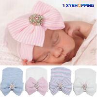 Baby Girls Newborn Infant Cotton Cute Hat Cap Knit Bow Outdoor Hospital Beanie