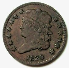 1829 UNITED STATES HALF CENT CLASSIC HEAD COIN CHOICE EXTRA FINE