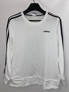 ADIDAS size SMALL Womens 3 Stripe White Lightweight Sweatshirt Pullover Crewneck