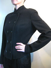 Prada Size 10 Black Wool Blend Military Style Blazer Jacket