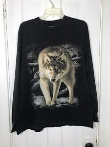 Vintage Wolf Big Print Shirt Long Sleeve Size XL Faded Distressed Worn Black