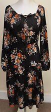 vintage LADIES 70S BLACK ORANGE FLORAL GYPSY DRESS SZ 8-10