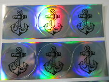 120 Hologram Silver Laser Round Anchor Image Waterproof Name Stickers 3 cm Labe