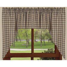 "Country Black Salem Lined Swag Curtains 72WX36L"" Plaid Cotton Farmhouse Window"
