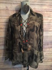 Z&L Embroidered Sheer Camouflage Blouse Top Feather Lace Front Popover NWT